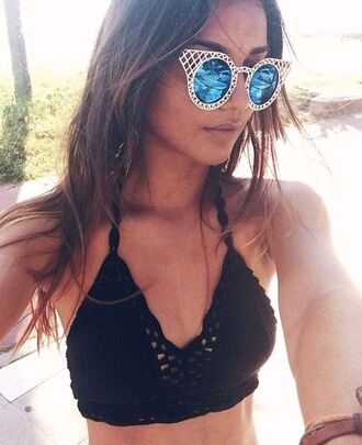 swimwear crotchet bikini crotchet bralet black bikini black black bikini top cool sunglasses sunglasses retro sunglasses round sunglasses blue sunglasses boho top