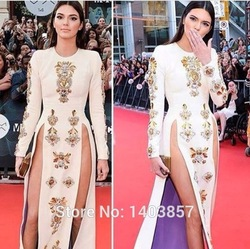 Online Shop Kendall Jenner O Neck Long Sleeve With Beaded Golden Crystals Natural Waist Sexy High Slit Side Satin A Line Celebrity Dress |Aliexpress Mobile
