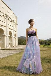 dress,purple prom dresses,purple floral print,long evening dress,elliot claire london,strapless dress,a line dress
