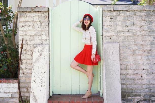 a fashion nerd blogger sunglasses lace top red skirt red bag beret shoes top jewels