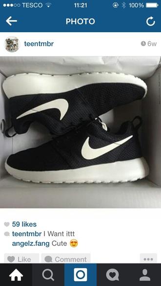 shoes nike running shoes black shoes roshe runs