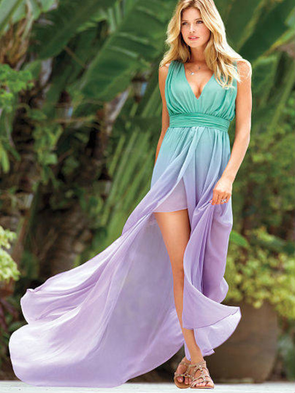 Dress: victoria's secret, ombre maxi dress, colored dress, maxi ...