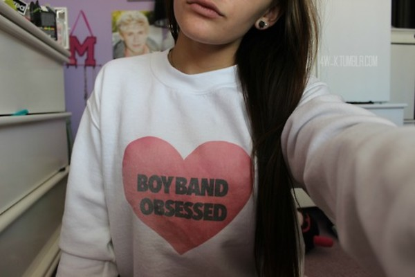 sweater boyband boybands one direction m.a.d sweater sweateshirt sweatshirt heart pink white black tumblr quality heart sweater