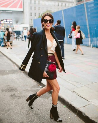 coat tumblr military style black coat top nude top skirt burgundy burgundy skirt boots black boots ankle boots thick heel block heels sunglasses black sunglasses bag pouch keychain fur keychain bag accessoires