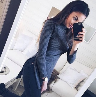 girl girly girly wishlist knit grey side split sweater