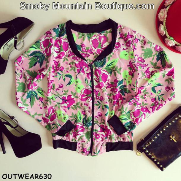 jacket windbreaker pink jacket pink pink floral pink floral jacket floral jacket