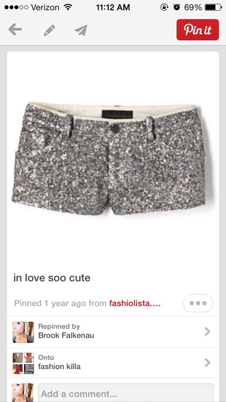 shorts silver sequins