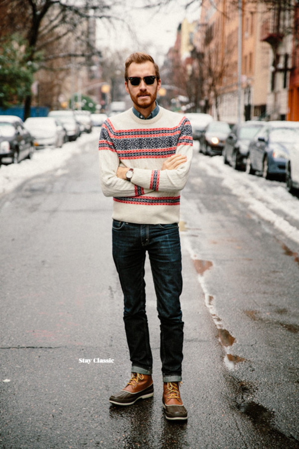 Stay Classic Blogger Mens Sweater Duck Boots Winter
