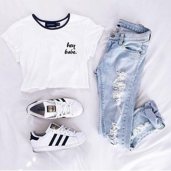 Shoes Shirt Adidas Ripped Jeans White Black Black