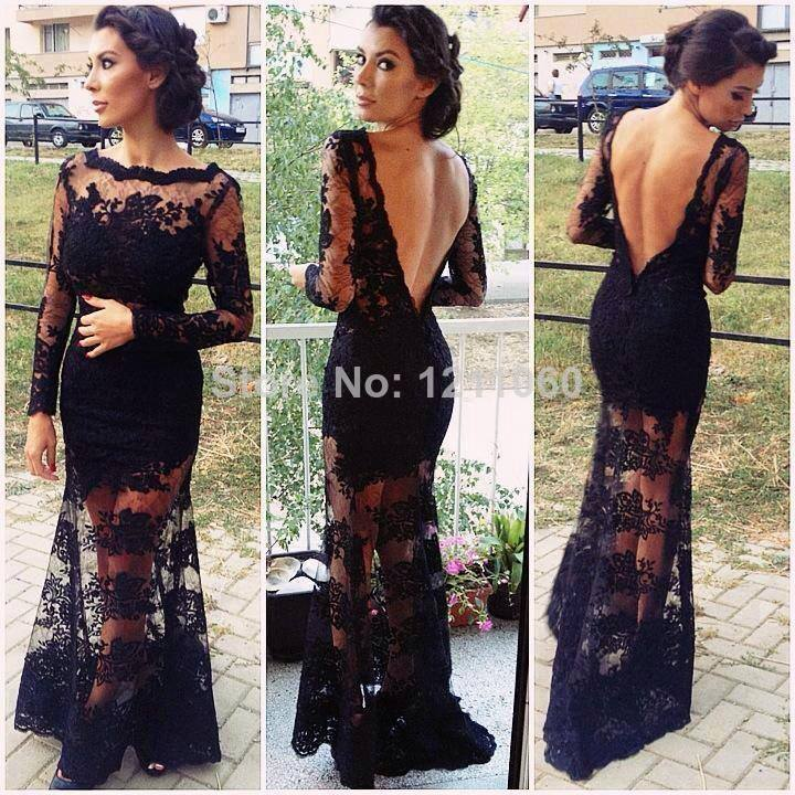 Aliexpress.com : Buy Lace Evening Dress 2014 See Through Scalloped Long Sleeve Open Back Floor length Long Black Lace Gown Formal Evening Dresses from Reliable dress white suppliers on BestDressProvider