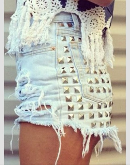 shorts studs light wash summer blouse light blue high-wasted denim shorts