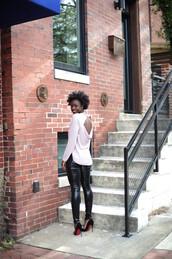 skinny hipster,blogger,jewels,bag,backless,vinyl,stilettos,black vinyl pants