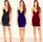 velvet dress,v neck dress,green dress,blue dress,bodycon dress