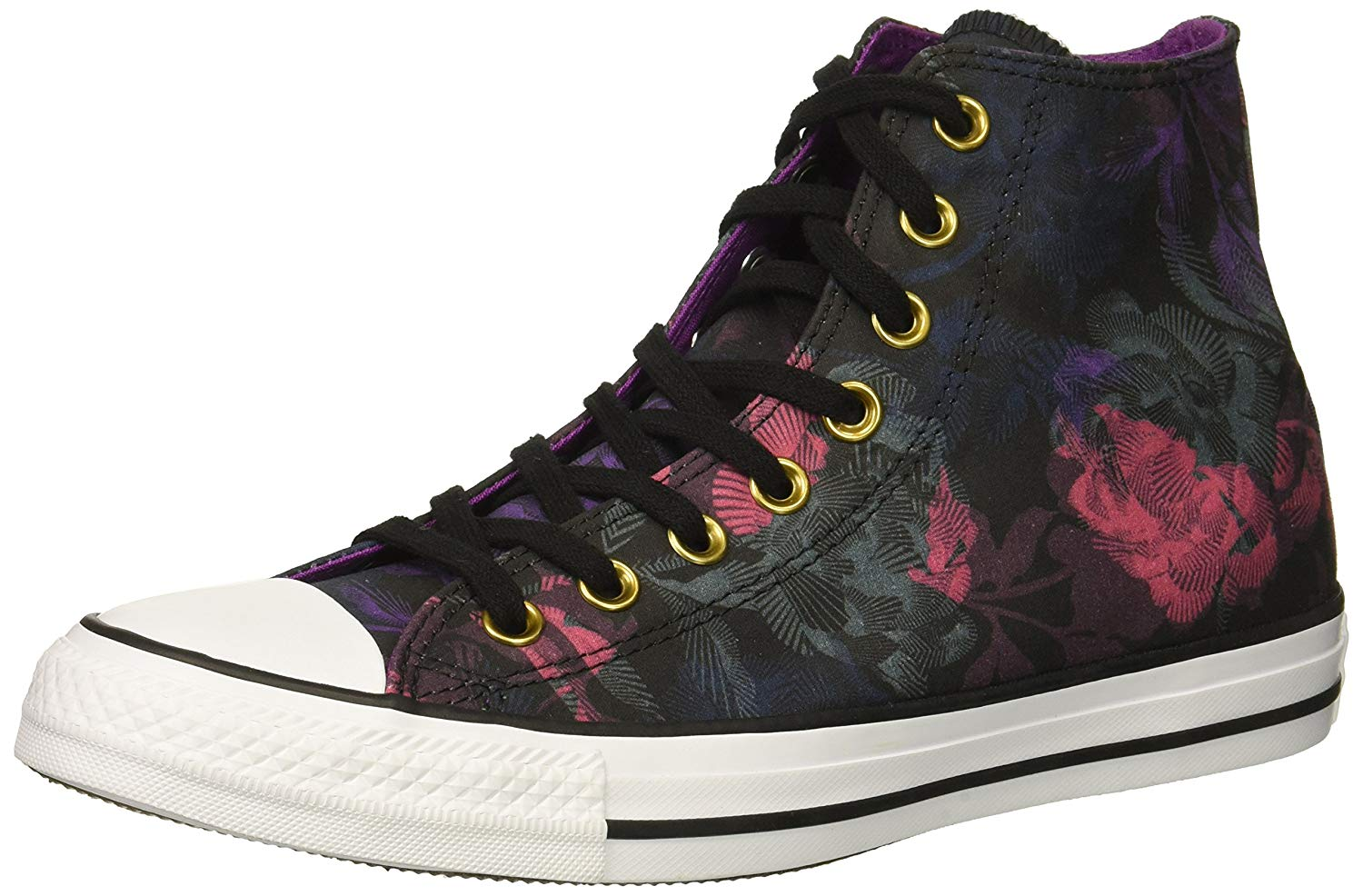 Amazon.com | Converse Women's Chuck Taylor All Star Floral Print HIGH TOP Sneaker, Black/Pink pop/White, 10.5 M US | Fashion Sneakers