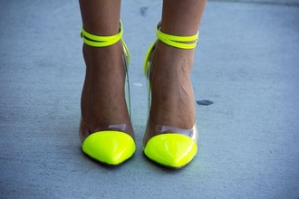 lime neon yellow heels courts transparent shoes heels