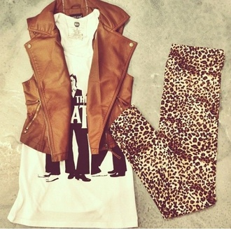 leggings cheetah jacket brown leather tank jacket
