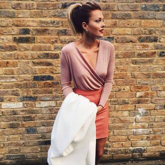 top wrap top pink top long sleeves skirt peach skirt mini skirt leather skirt coat white coat