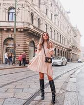 dress,asymmetrical dress,long sleeve dress,ruffle dress,black boots,high heels boots,crossbody bag,mini bag