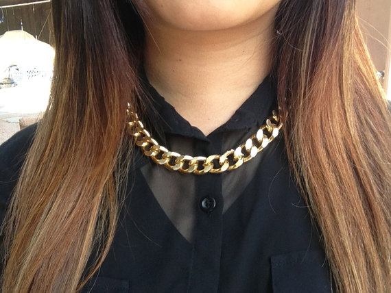 Chunky Mini Gold Chain Necklace by ThreeeOneFour on Etsy