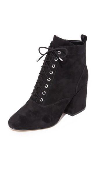 booties lace black shoes