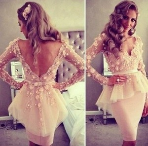 V-neck Backless Lace Bowknot Waistband Long-sleeve Gown | eBay