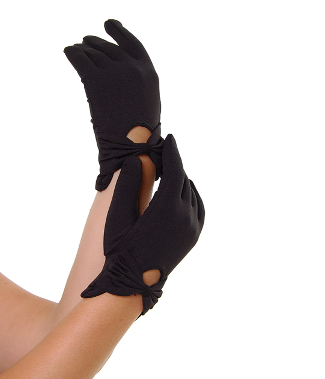 Black gloves with bow - Sure Fit Black Wrist Length Bow Keyhole Gloves