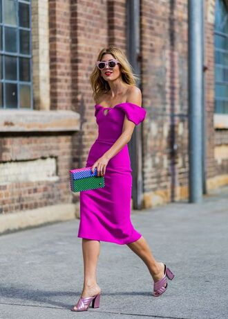 shoes gucci shoes gucci gucci mules dress midi dress pink dress off the shoulder dress neon dress bag clutch green clutch sunglasses pink sunglasses all pink everything all pink wishlist streetstyle