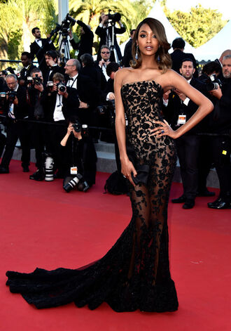 dress red carpet jourdan dunn strapless bustier dress cannes red carpet dress sheer