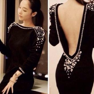 dress black little black dress open back dresses pearl