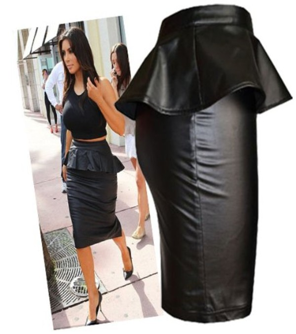 100% genuine exclusive deals new cheap Amazon.com: Womens Wet/leather Look Peplum Pencil Midi Skirt (Le): Clothing