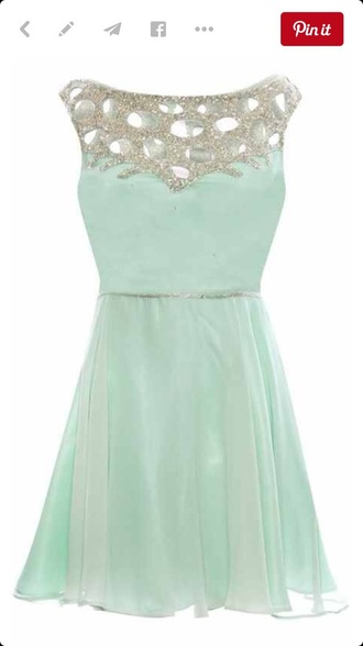 dress ice blue knee length dress fit and flare formal dress