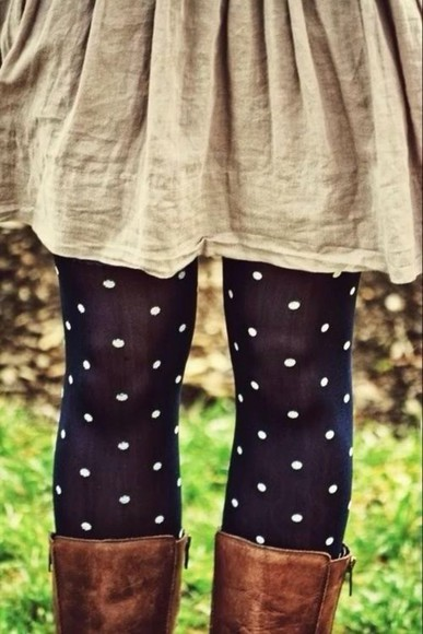 blue and white pants polka dot tights