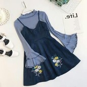 dress,aesthetic,cute,comfy,sweater dress,blue,short,outfit