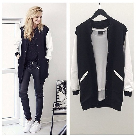 baseball jacket coat black white fashion sportswear instagramfashion denmark