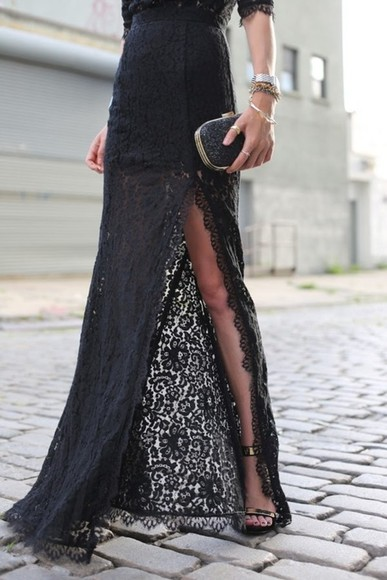 dress black clutch lace