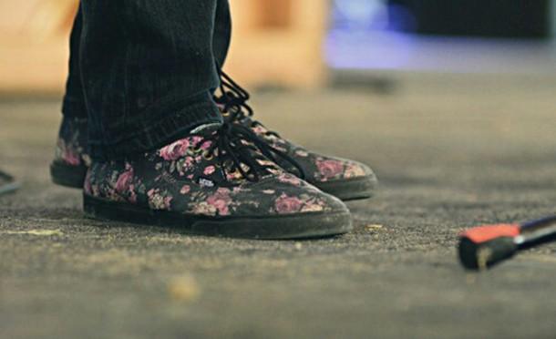 shoes, floral vans, twenty one pilots