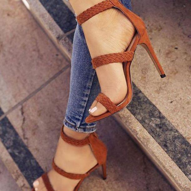 shoes heels tan baddies instagram