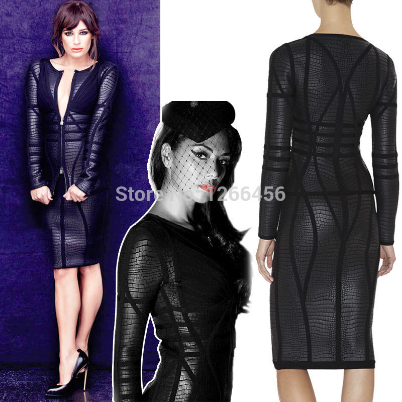 Aliexpress.com : Buy 2014 Winter Europe and America new personality handsome black snake fight Pilar chain Long Sleeve bandage dress Plus Size H706 from Reliable dresses nature suppliers on Lady Go Fashion Shop