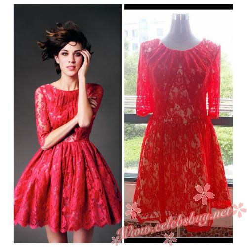 Alexa chung little red lace erdem dress for sale