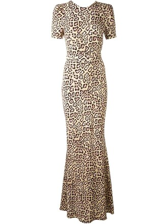 gown print leopard print nude dress