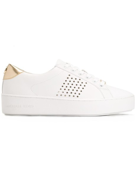 MICHAEL Michael Kors women sneakers leather white cotton shoes