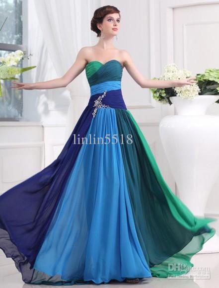 colorful green prom dress sexy dress evening dress