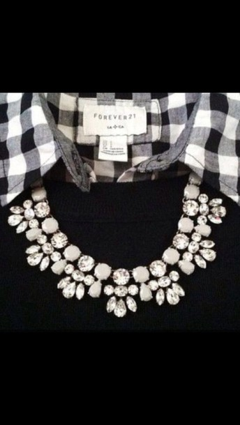 jewels statement necklace statement necklace jewelry necklace crystal white gems