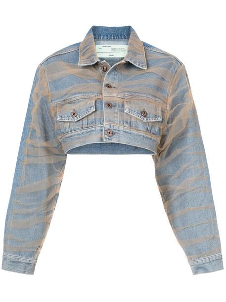 Off-White jacket denim jacket denim women cotton blue
