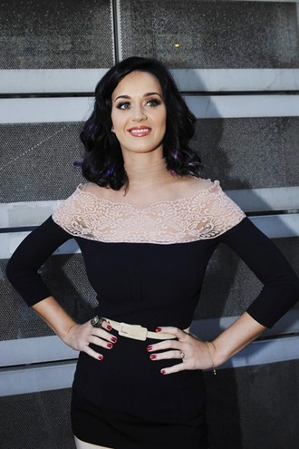 dress katy perry three-quarter sleeves blue dress off the shoulder dress lace dress belt waist belt bodycon dress celebrity style celebrity