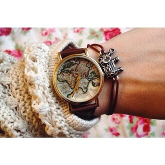 jewels watch world golden leather wrist band map print