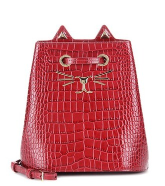 bag bucket bag leather red