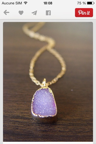 jewels necklace jewelry raw stone druzy gold gold necklace boho boho jewelry
