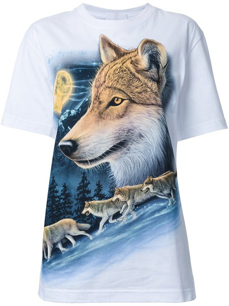 t-shirt shirt t-shirt wolf women white cotton print top