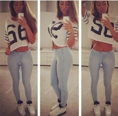 shirt,pants,shoes,t-shirt,crop tops,number tee,jeans,white,blouse,v neck,light blue skinny jeans,grape5,jersey shirt,black,black and white,wheretobuyit,hoi,top,whole outfit,jeggings,56shirt,nikemaybe,jordansmaybe,skinny jeans